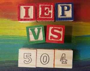 504 Plan VS. IEP (Individualized Education Plan) alphabet blocks
